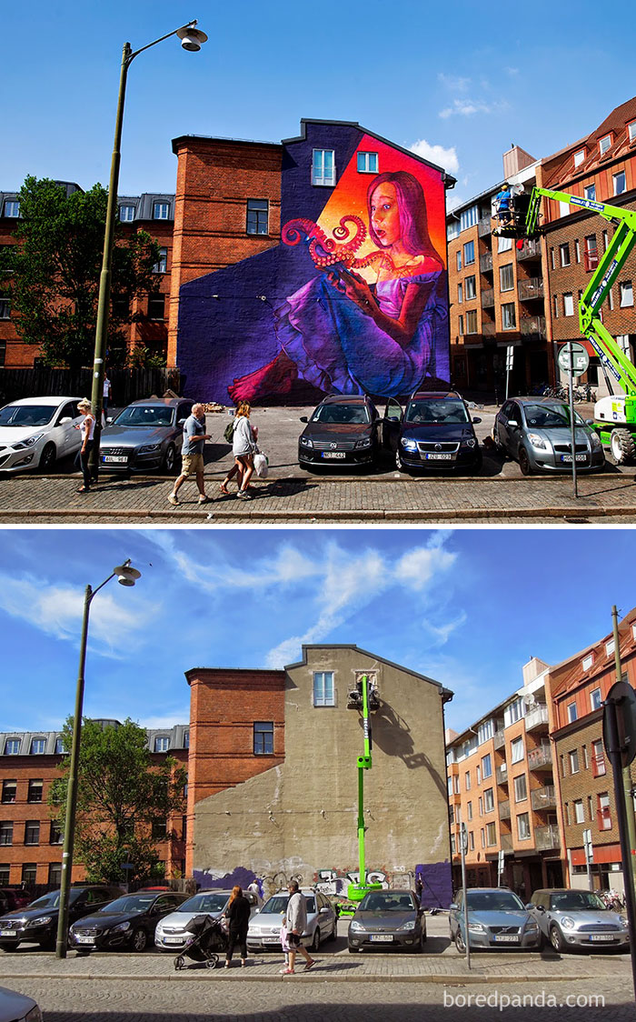 10+ Incredible Before & After Street Art Transformations That'll Make You Say Wow - Magic Book, Malmo, Sweden