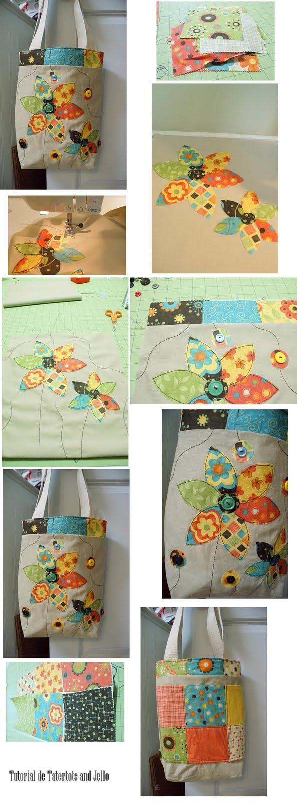 bolsas, bolsos, apliques, costura, labores, como hacer bolsas con apliques