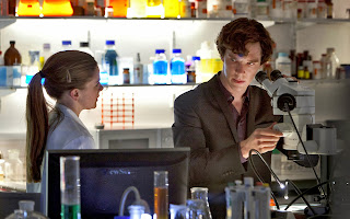 Benedict Cumberbatch and Louise Brealey as Sherlock Holmes and Molly Hooper in BBC Sherlock
