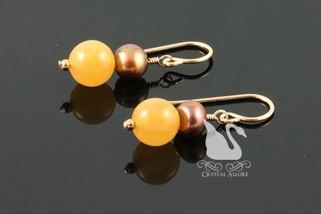 Honey Jade Gemstone Beaded Earrings (E187)