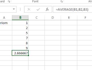 Microsoft Excel average formula
