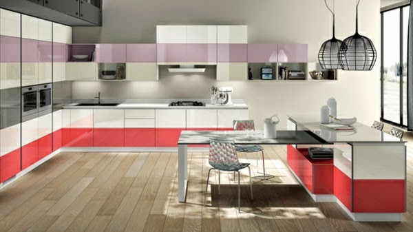 Modern Kitchen Cabinets In White Red And Pink Color Combination