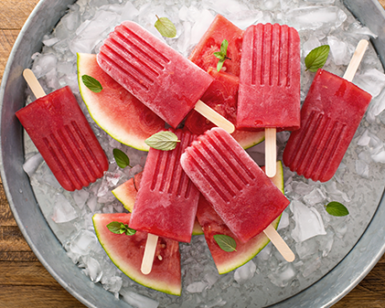 Hibiscus and minty watermelon popsicles
