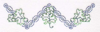 "row of celtic knots with swirls of green leaves in a ""w"" shape"