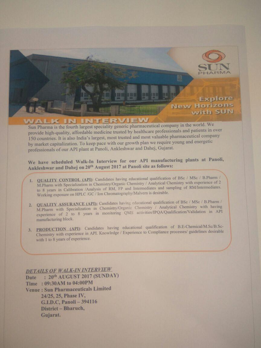 Pharma Vacancy: Walk in for Sun Pharma Ankleshwar & Dahej Plant on