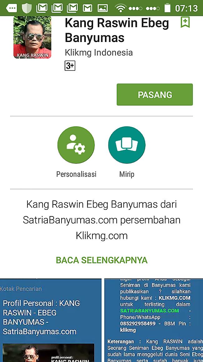 Kang Raswan Ebeg Banyumas dalam Listed @ Play Store : https://goo.gl/abQadu