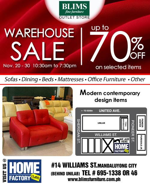 BLIMS Fine Furniture Warehouse SALE: November 2015