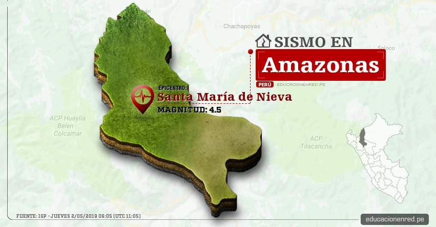 Temblor en Amazonas de Magnitud 4.5 (Hoy Jueves 2 Mayo 2019) Sismo Epicentro Santa María de Nieva - Condorcanqui - IGP - www.igp.gob.pe