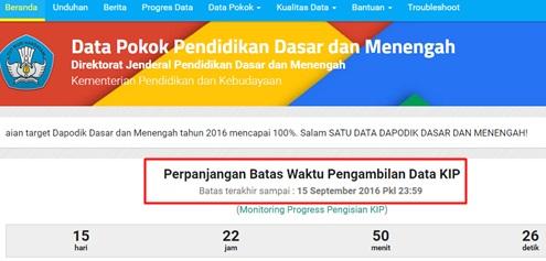 Batas Waktu Pengambilan Data KIP di Dapodik Diperpanjang sampai Tanggal 15 September 2016