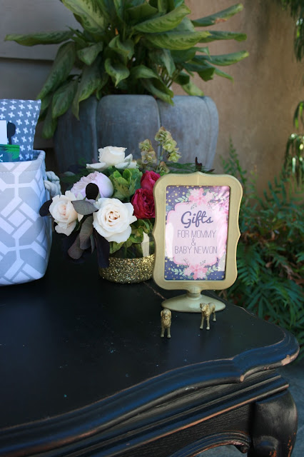 Check out this adorable Peach + Navy + Gold Baby Shower!