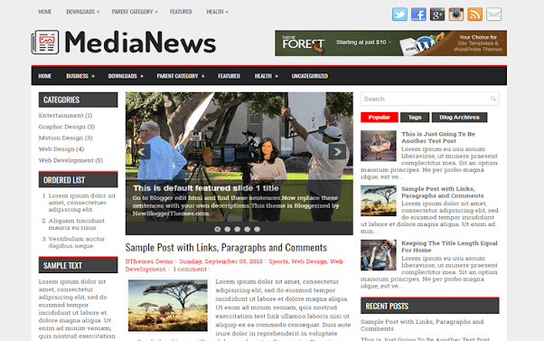 MediaNews Free Blogger Template