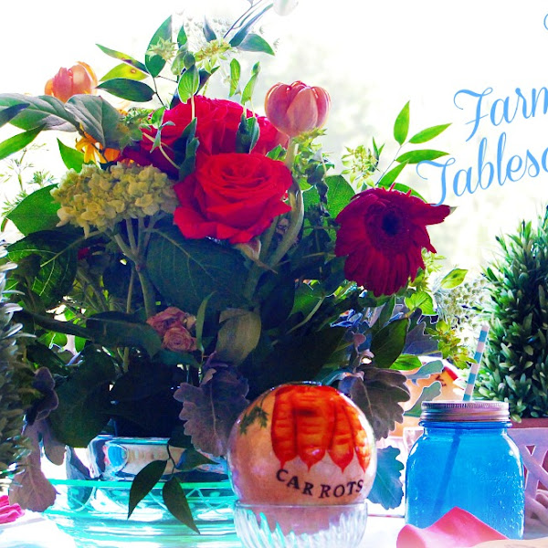 Garden Style Floral Arrangement and A Farm Fresh Tablescape