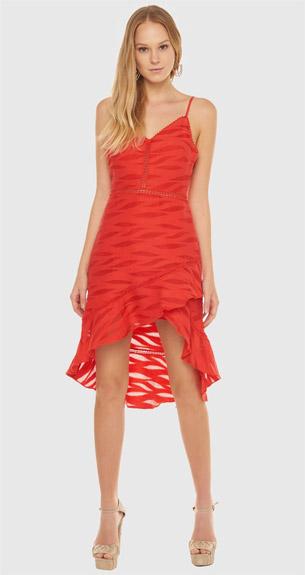vestido assimétrico com babados vermelho BO.BÔ para festas de final de ano