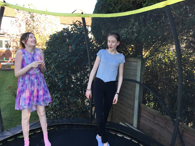 Steph's Two Girls on trampoline