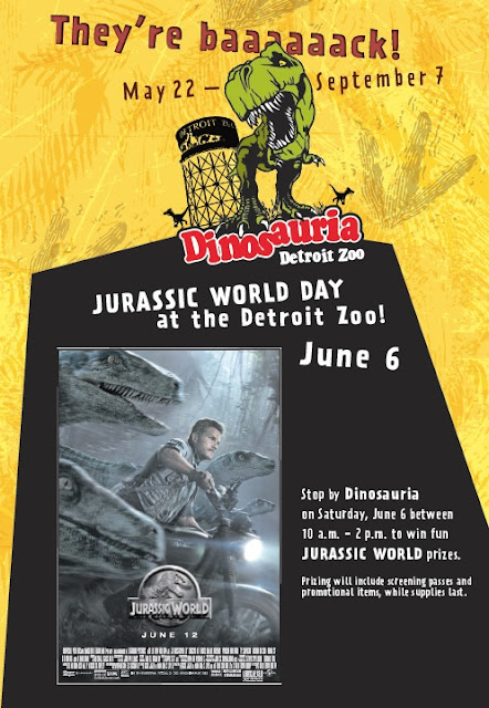 Detroit, detroit zoo, dinosaurs, Dinosauria, Jurassic World, June, event, prizes, kids, video, kids activities, fun,