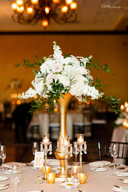 gold centerpieces with floral