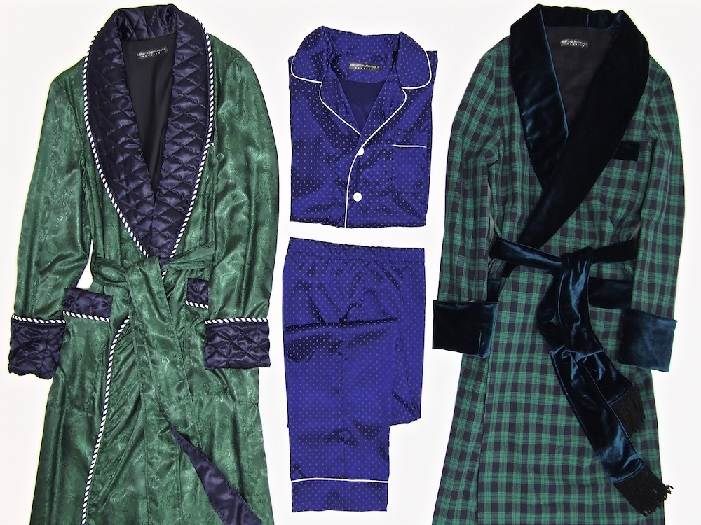 Men's Bespoke Silk Dressing Gowns And Pajamas, Quilted