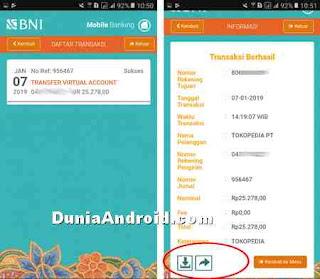 simpan dan share bukti transaksi BNI Mobile