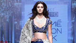 Disha Patani in Beautiful Blue Chania Choli Lehenga at Lakme Fashion Week Summer Spring 2017 5.jpg