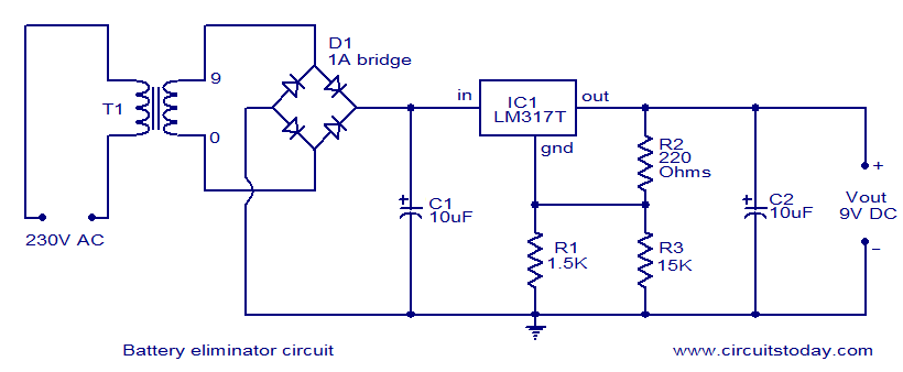 Simple battery eliminator circuit  Electronic Circuit