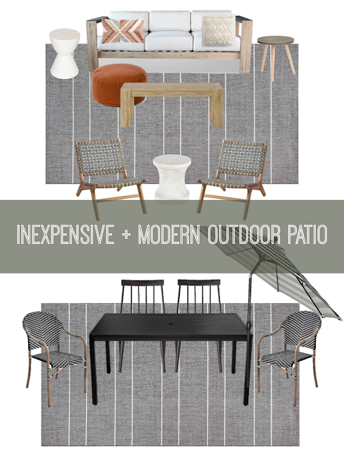 inexpensive and modern outdoor patio mood board