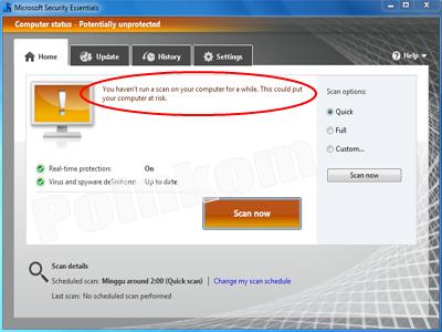Microsoft Security Essentials Warning