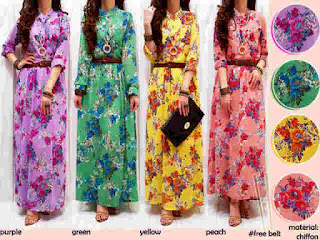 Gamis Sifon Bunga fit to L