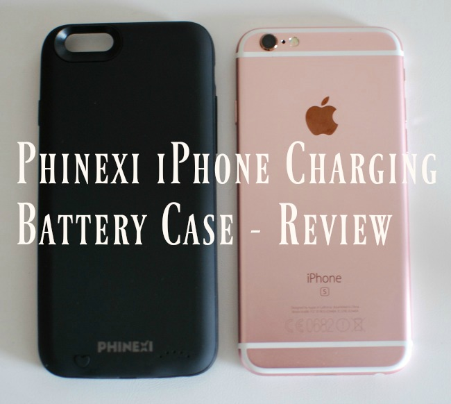 Phinexi-phone-charging-battery-case-review-text-over-image-of-case-and-iPhone-6s