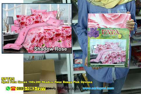 Sprei Fata Queen 160x200 Shadow Rose Bunga Pink Dewasa
