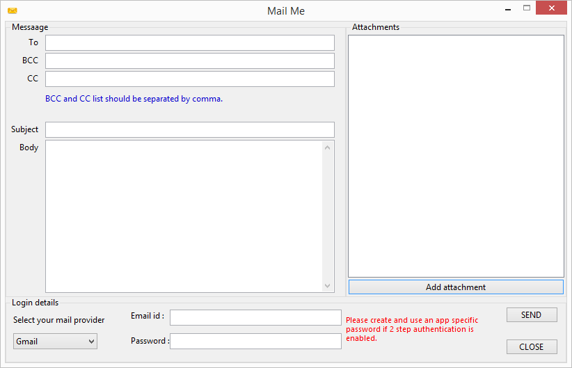 Sending mails with attachments in C#.
