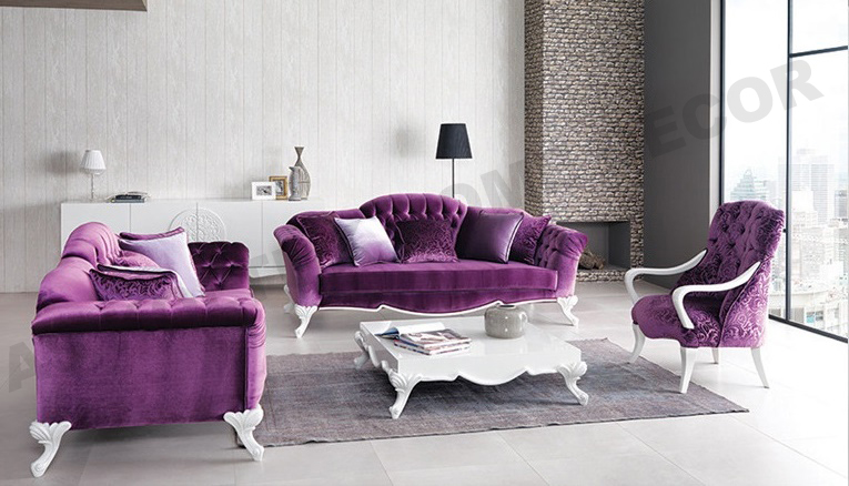 As koltuk home decor for sale purple classic sofa set for Purple couch set