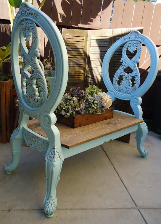 Repurposed Chairs to Charming Bench - SOLD