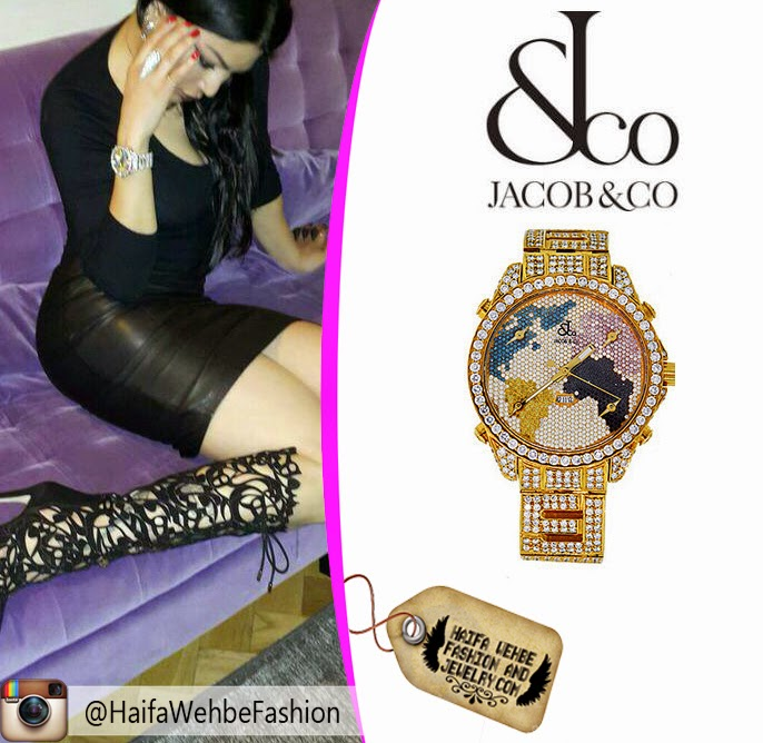 553e8ae6286f7 Haifa Wehbe shared a picture on her Instagram rocking this Diamond  encrusted World Map watch by Jacob   Co. Haifa Wehbe s watch comes in white  diamond and ...