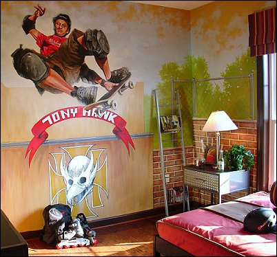 Skateboarding theme bedroom decor and skateboarding theme decorating ideas