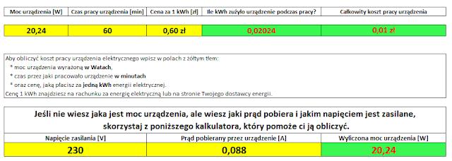 """Koszt pracy instalacji wentylacji mechanicznej na biegu """"0"""" w ciągu jednej godziny."""