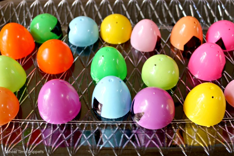 plastic eggs matching activity