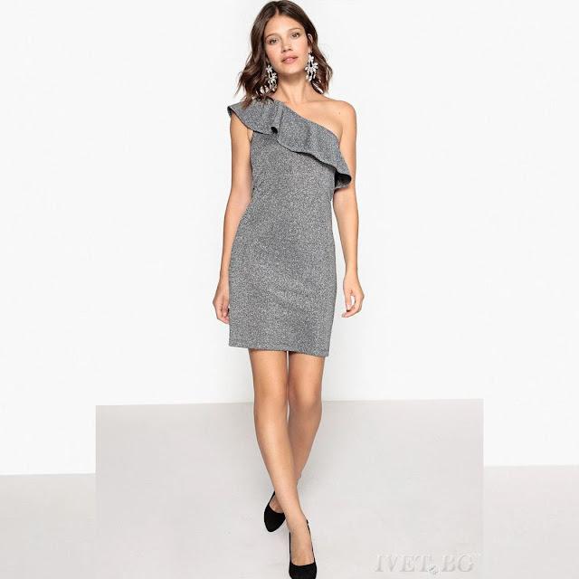 Μεσάτο  εντυπωσιακό ασημί κοντό  φόρεμα MARIONA