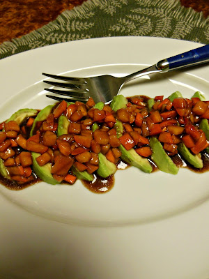 Avocado Slices with Balsamic Persimmon Vinaigrette.