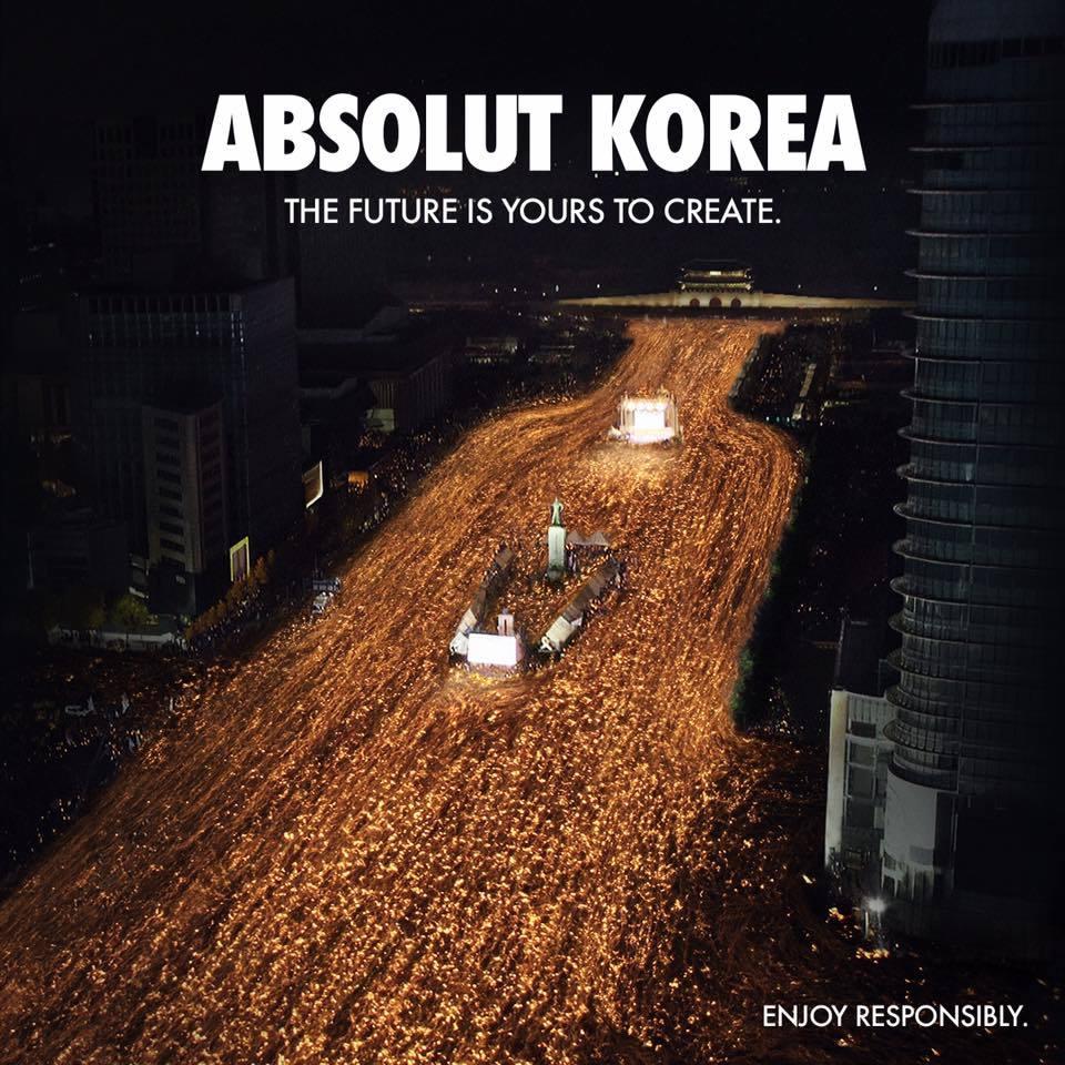 Anuncio de Absolut con las manifestaciones en Seúl contra Park Geun-hye