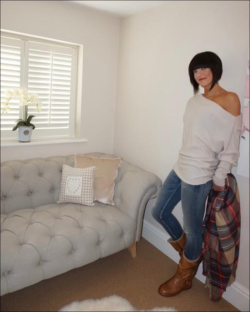 My Midlife Fashion, Lotus Shoes Jolanda tan leather ankle Boots, zara cashmere bardot jumper, zara skinny  distressed jeans, zara tartan blanket scarf