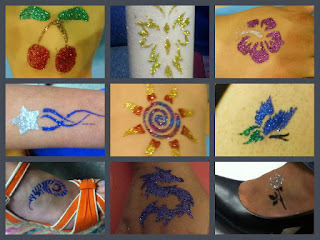 cherries, butterfly, hibiscus, shooting star, sun rays, butterfly, feather, dragon, and rose glitter tattoos on hands, arms, and feet