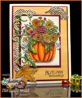 Stamps - Our Daily Bread Designs Fall Flower Pumpkin, Autumn Blessings,ODBD Custom Pumpkin and Flowers Die, ODBD Custom Fall Leaves and Acorn Die, ODBD Custom Fancy Foliage Die