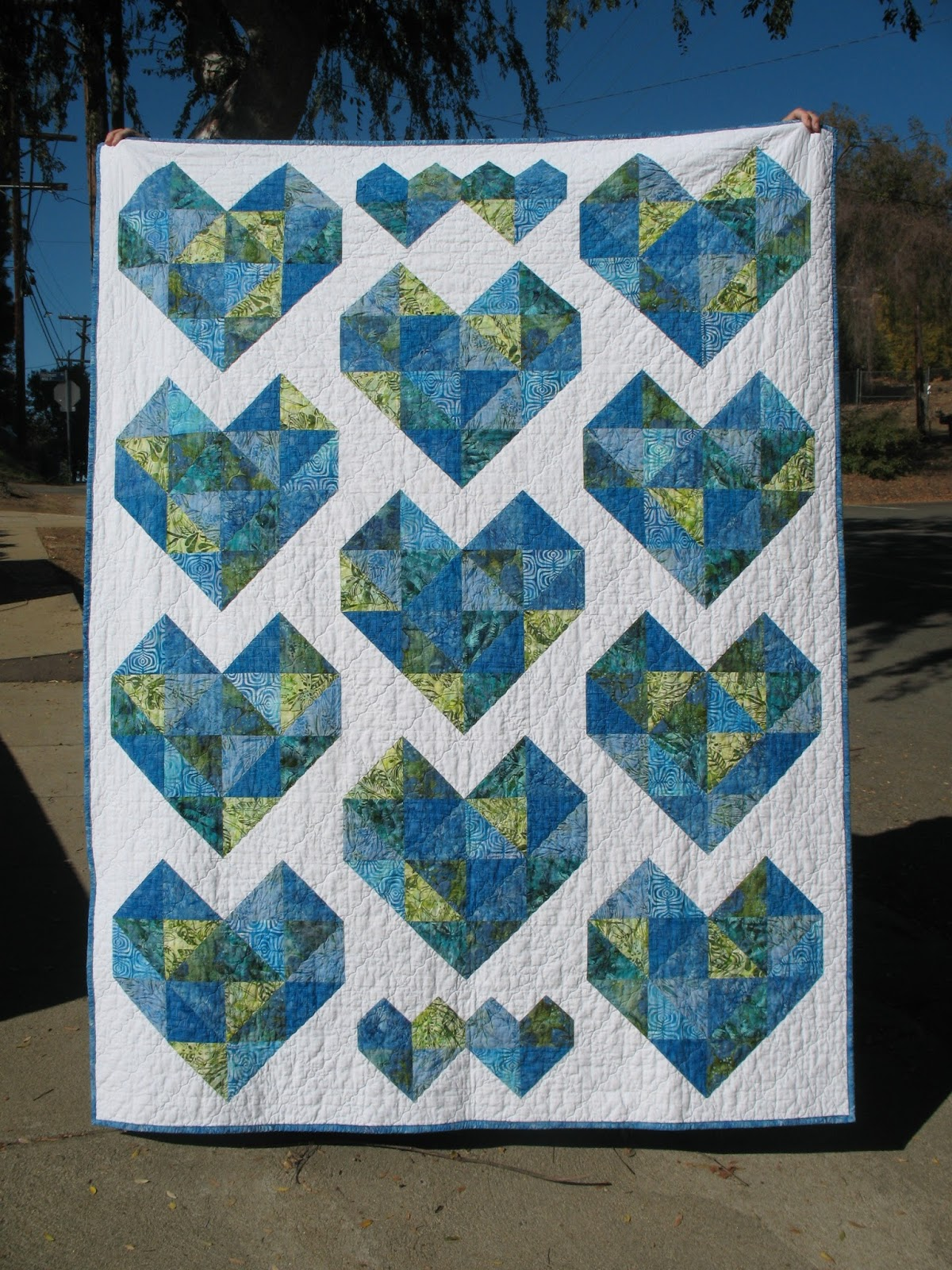 Ye Olde Sweatshop Batik Hearts Quilt 45