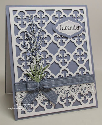 ODBD Lavender, ODBD Quatrefoil Pattern Die, ODBD Custom Ornate Borders and Flower Die Set (sentiment tag), Card Designer Angie Crockett