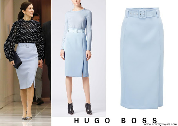 Crown Princess Mary wore BOSS High-waisted Pencil Skirt In Micro Fabric With Belt