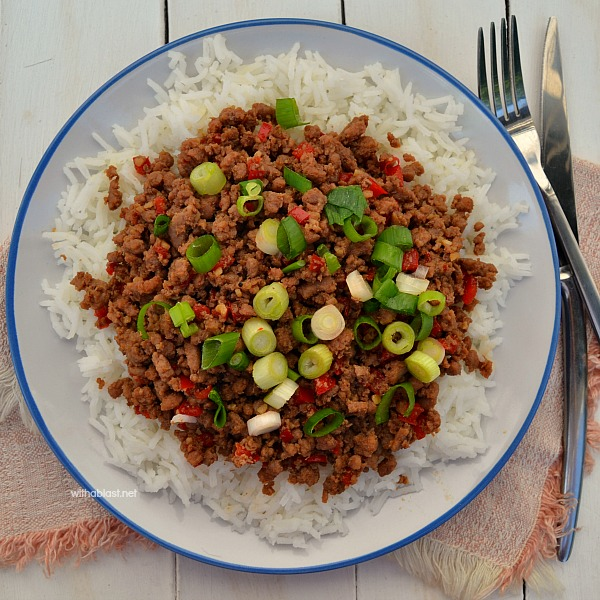 20 Minutes Korean ground Beef recipe served over rice (or in lettuce leaves)