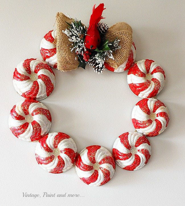 Vintage, Paint and more... a vintage Christmas wreath made with painted candy stripe vintage jello molds