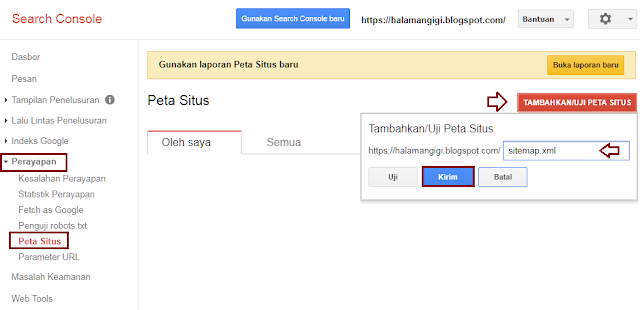 Mengirimkan Sitemap (Peta Situs) ke Search Console