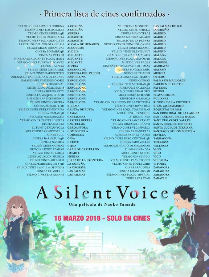 A Silent Voice cines confirmados