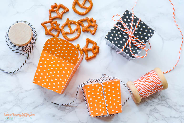 Free Printable Treat Boxes for Halloween | Available in black or orange...perfect for treats of all kinds!